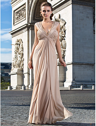 Sheath / Column V Neck Floor Length Chiffon Formal Evening Military Ball Dress with Beading Ruched Side Draping by TS Couture®
