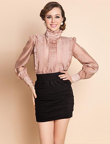 Royal TS высоким горлом органзы Ruffle блузка рубашка