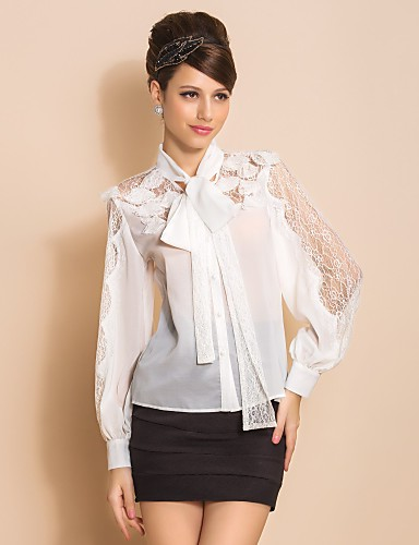 TS Lace Bow langermet bluse skjorte