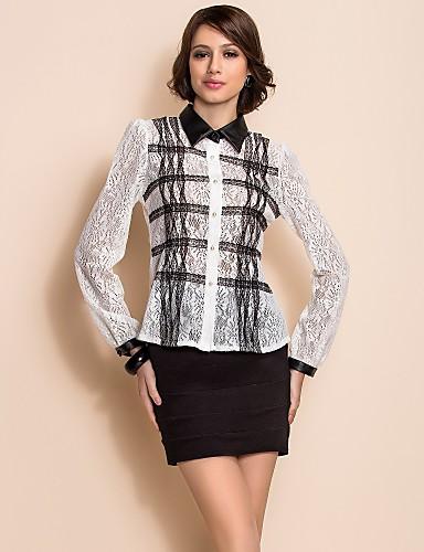 TS Black And White PU Collar Lace Shirt