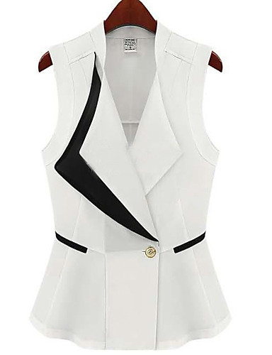 Chemisier / Chemise Aux femmes,Mosaïque Habillées simple Eté Sans Manches Col en V Blanc / Noir