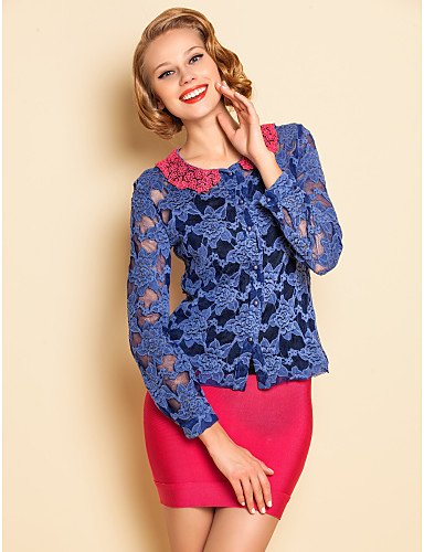 TS Contrast Color Lace Blouse Shirt