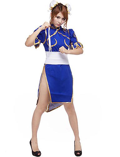 """billige Videospill Kostymer-Inspirert av Street Fighter Chun-Li video Spill  """"Cosplay-kostymer"""" Cosplay Klær Lapper Kortermet Hodeplagg / Korsett / Cheongsam Halloween-kostymer / Satin"""