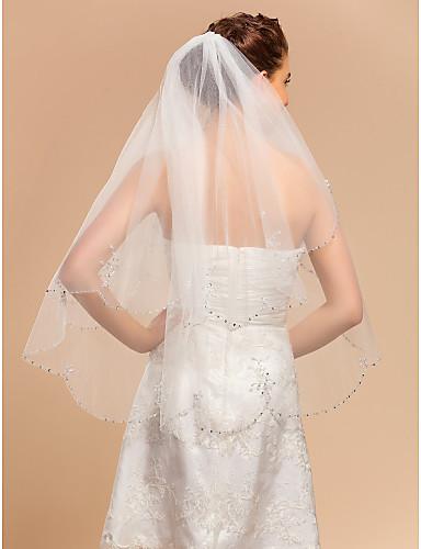 Çift katman Dantel Aplike Kenar Gelin Duvakları Aplik  -  Parmak Ucu Başlığı 35.43 inç (90cm) Tül A-line,Balo Elbisesi,Prenses,Dar /
