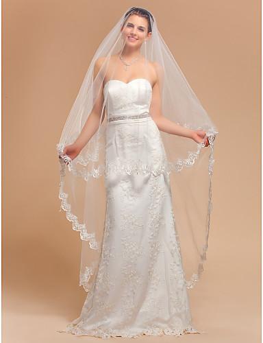 Elegant One Tier Waltz Wedding Veil With Lace Applique Edge 532772