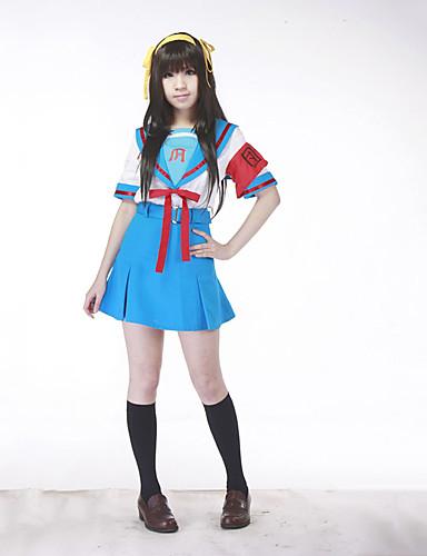 povoljno Anime kostimi-Inspirirana Suzumiya Haruhi Haruhi Suzumiya Anime Cosplay nošnje Japanski Cosplay Suits / School Uniforms Kolaž Kratkih rukava Top / Suknja / Pojas Za Žene