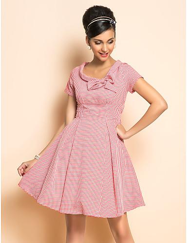 ts vintage rockabilly flicka kolla kortärmad klänning