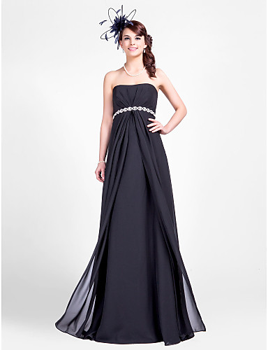 Sheath / Column Strapless Floor Length Chiffon Bridesmaid Dress with Beading Draping Side Draping by LAN TING BRIDE®