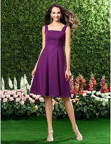 A-Line Straps Knee Length Chiffon Bridesmaid Dress with Draping by LAN TING BRIDE®