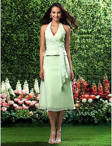 Linia -A Prințesă În V Halter Lungime Tea Șifon Rochie Domnișoară Onoare cu Drapat Părți de LAN TING BRIDE®