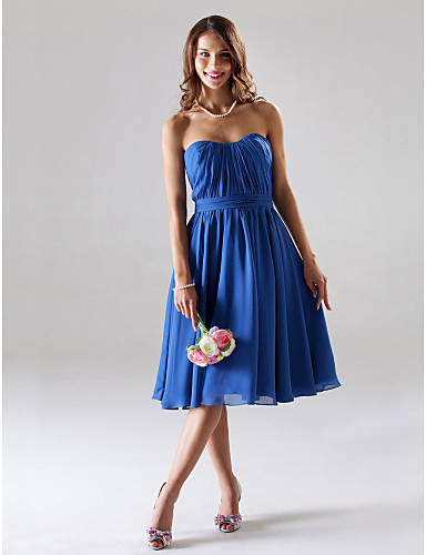 A-Line / Ball Gown Strapless / Sweetheart Neckline Tea Length Chiffon Bridesmaid Dress with Draping / Ruched by LAN TING BRIDE®