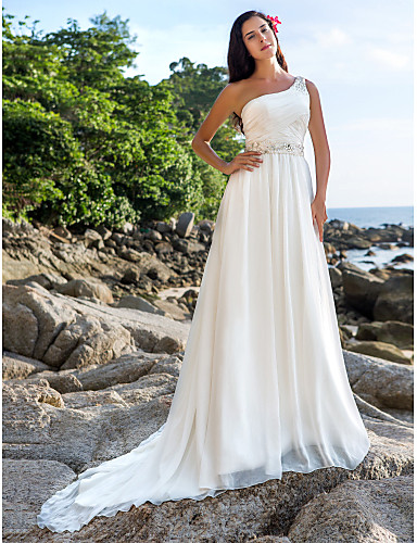 A-Line One Shoulder Chapel Train Chiffon Made-To-Measure Wedding Dresses  with Beading   Sash   Ribbon   Button by LAN TING BRIDE® d5ee22f35a4e
