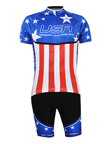 cheap Cycling Clothing-Malciklo Men's Half Sleeve Cycling Jersey with Shorts - Blue+Red Champion National Flag Bike Clothing Suit Breathable Waterproof Zipper Sports 100% Polyester Mountain Bike MTB Road Bike Cycling