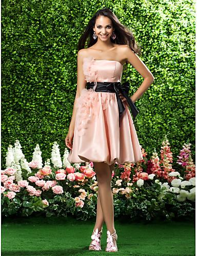 저렴한 신부들러리 짧은 드레스-A-라인 / 볼 드레스 끈없는 스타일 무릎 길이 오간자 신부 들러리 드레스 와 리본 / 드레이핑 / 허리끈 / 리본 으로 LAN TING BRIDE®