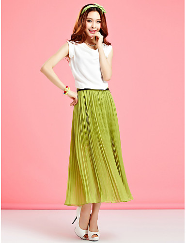 Swing Maxi Dress, Color Block Pleated Round Neck Sleeveless