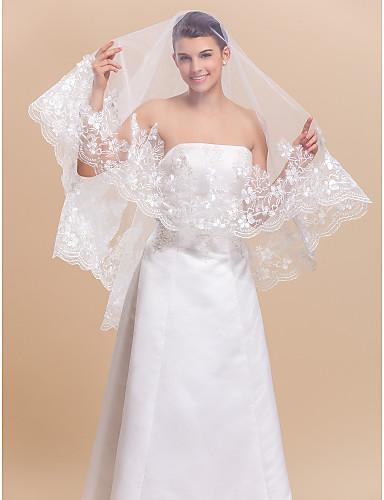Einschichtig Spitzen-Saum Hochzeitsschleier Fingerspitzenlange Schleier Mit Applikationen 70,87 in (180cm) Tüll A-linie,Ball Kleid,