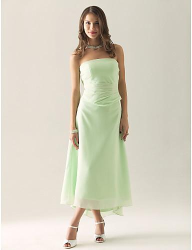 Sheath / Column Strapless Tea Length Asymmetrical Chiffon Bridesmaid Dress with Ruched Ruffles by LAN TING BRIDE®