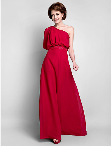 Sheath / Column One Shoulder Floor Length Chiffon Mother of the Bride Dress with Beading Draping by LAN TING BRIDE®