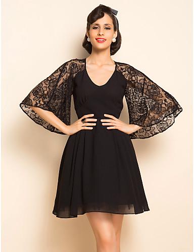 TS VINTAGE Lace Flare Sleeve Chiffon Dress