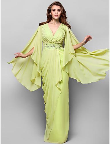 Sütun V Yaka Yere Kadar Şifon Kristal Detaylar Drape ile Resmi Akşam / Askeri Balo Elbise tarafından TS Couture®