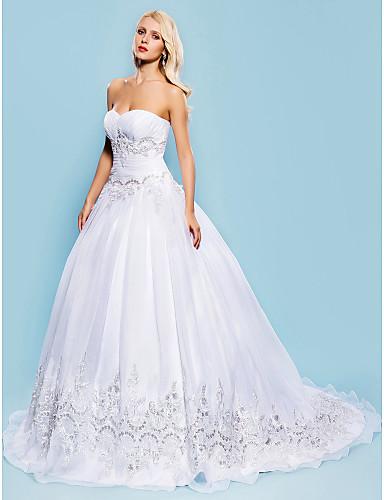 Haine Bal In Formă de Inimă Trenă Court Organza Made-To-Measure rochii de mireasa cu Mărgele / Aplică / Pliuri de LAN TING BRIDE®