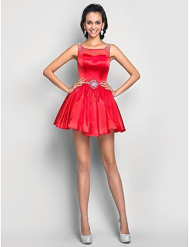 A-Linie Illusionsausschnitt Kurz / Mini Tüll Charmeuse Abschlussball / Abiball Kleid mit Perlenstickerei Kristall Verzierung Drapiert