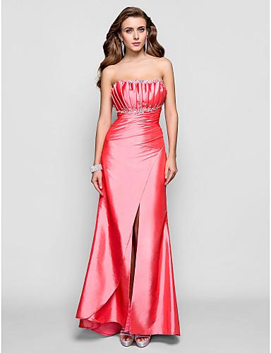 Skede / kolonne skulpteret gulvlængde taffeta prom kjole med perle af ts couture®