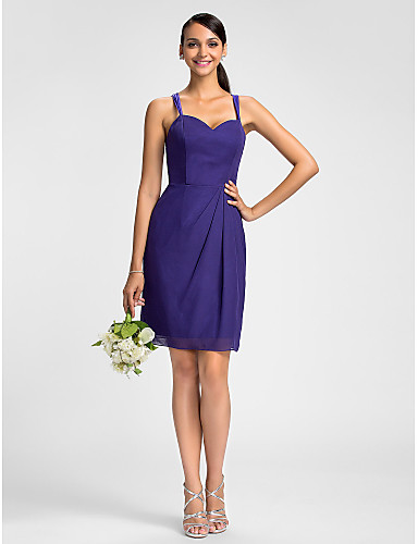 Sheath / Column Spaghetti Straps Knee Length Chiffon Bridesmaid Dress with Side Draping by LAN TING BRIDE®