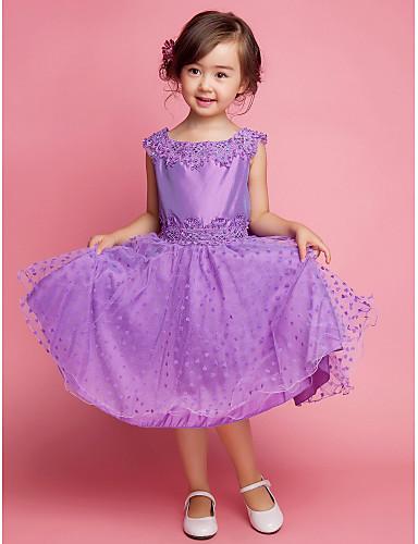 A-line платье девушки цветка колена - хлопчатобумажная безрукавная квадратная шея с вышивкой