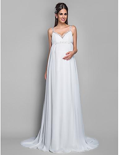 301851ad5e Lanting Bride® Szűk szabású Kismama Menyasszonyi ruha - Klasszikus és  időtlen Seprő uszály Spagettipánt Sifon val vel 252269 2019 – $129.99