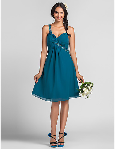 A-Line Princess One Shoulder Knee Length Chiffon Bridesmaid Dress with Beading Draping Criss Cross by LAN TING BRIDE®