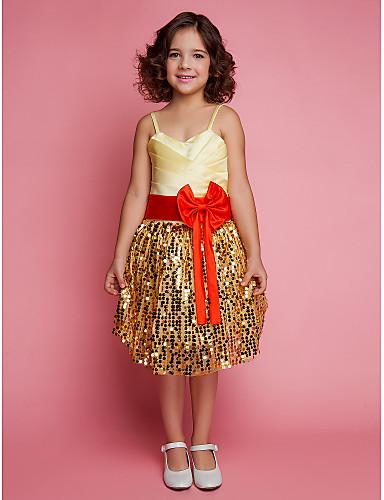 Bal jurk knie lengte bloem meisje jurk - kant satijn mouwloze spaghetti riemen