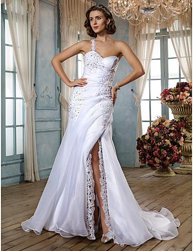 Mermaid / Trumpet One Shoulder Sweep / Brush Train Organza Custom Wedding Dresses with Beading Split Side-Draped Button by LAN TING BRIDE®