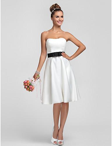 Sheath / Column Strapless Knee Length Satin Bridesmaid Dress with Draping Sash / Ribbon by LAN TING BRIDE®