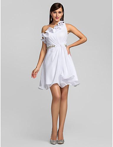 A-Linie Ein-Schulter Kurz / Mini Chiffon Cocktailparty Kleid mit Perlen Verzierung / Kristall Brosche / Rüschen durch TS Couture®