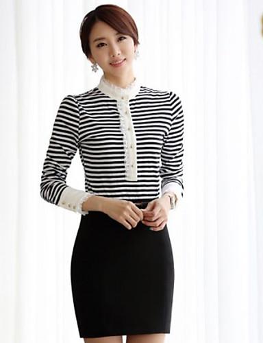 JANE FANS Elegantní dlouhý rukáv Stripes Slim krajkové tričko (náhodný vzorek)