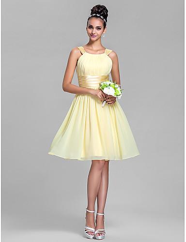 billige Korte brudepigekjoler-A-linje Remme Knælang Chiffon / Stræksatin Brudepigekjole med Drapering / Krøllede Folder ved LAN TING BRIDE®