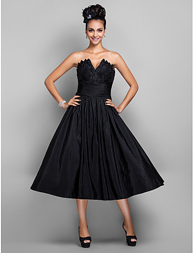 aabe43a690a Ball Gown V Wire Tea Length Taffeta Little Black Dress Cocktail Party    Prom Dress with Pleats by TS Couture®