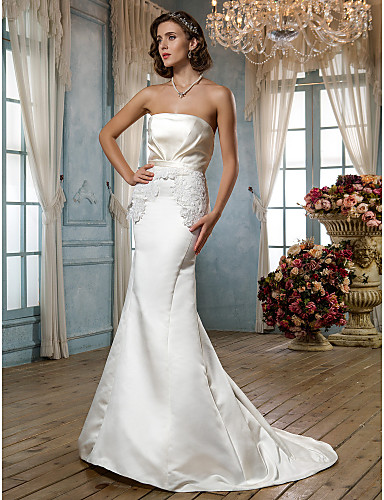 Sheath / Column Strapless Court Train Satin Wedding Dress with Appliques Sash / Ribbon by LAN TING BRIDE®
