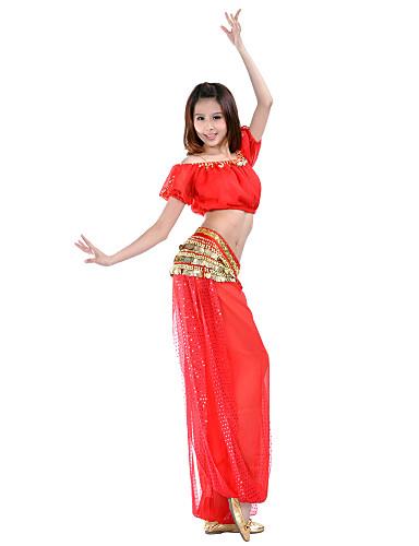 Dans din Buric Ținute Pentru femei Antrenament Șifon Paiete / Monede Mânecă scurtă Natural Vârf / Pantaloni / Sală de bal