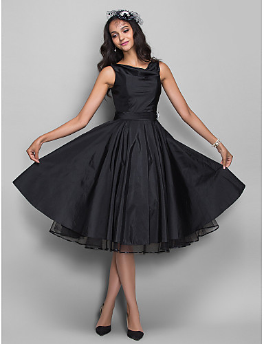 cheap Black Dresses-Ball Gown Cowl Neck Knee Length Taffeta Little Black Dress / Vintage Inspired Cocktail Party Dress with Crystal Brooch / Pleats by TS Couture®