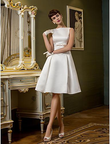 4812ad738a71 Χαμηλού Κόστους Νυφικά-Γραμμή Α Bateau Neck Μέχρι το γόνατο Σατέν Φορέματα  γάμου φτιαγμένα στο