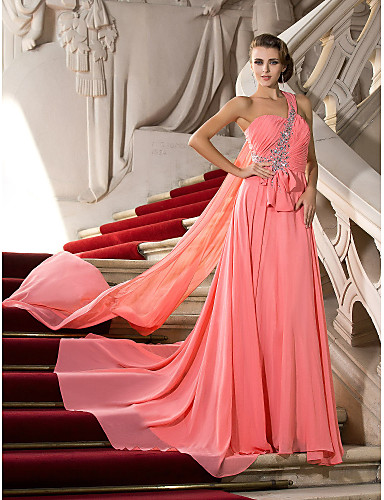 cheap Prom Dresses-A-Line One Shoulder Court Train Chiffon Open Back Prom / Formal Evening Dress with Bow(s) / Crystals by TS Couture®