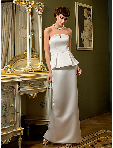 Sheath / Column Strapless Floor Length Satin Wedding Dress with Draped Split by LAN TING BRIDE®