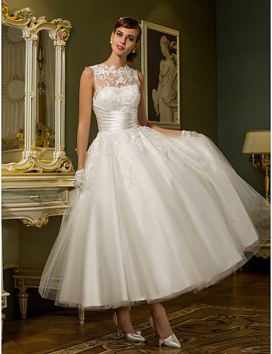 cheap Wedding Dresses-A-Line High Neck Ankle Length Lace Over Tulle Made-To-Measure Wedding Dresses with Appliques / Sash / Ribbon / Ruched by LAN TING BRIDE® / See-Through