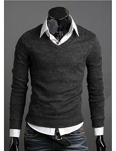 Herrn Wochenende Schlank Pullover-Solide V-Ausschnitt