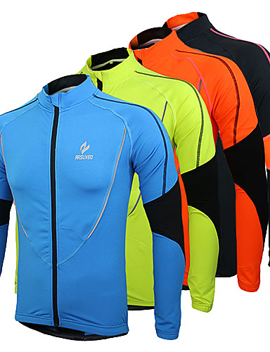 cheap Cycling Jackets-Arsuxeo Men's Cycling Jersey Cycling Jacket Bike Jersey Top Thermal / Warm Fleece Lining Breathable Sports Polyester Fleece Winter Orange / Green / Blue Mountain Bike MTB Road Bike Cycling Clothing
