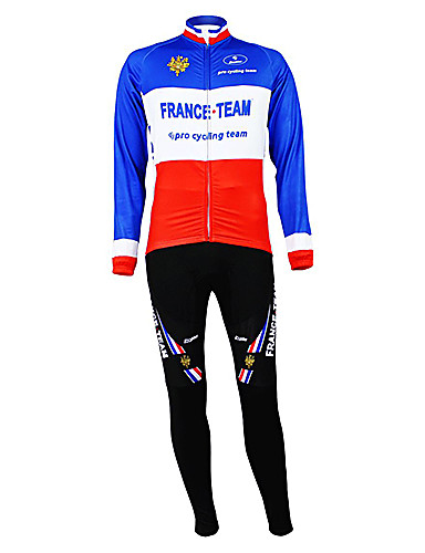 cheap Cycling Clothing-Malciklo Men's Long Sleeve Cycling Jersey with Bib Tights - Blue+Red France Champion National Flag Bike Clothing Suit Thermal / Warm Fleece Lining Breathable Sports Winter Polyester Fleece Mountain