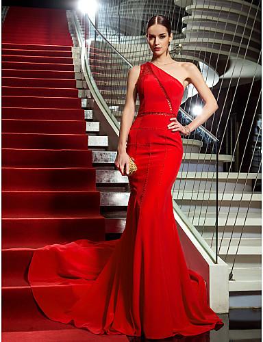 billige Feriekjoler-Havfrue Enskuldret Hoffslep Chiffon Formell kveld Kjole med Perledetaljer av TS Couture®