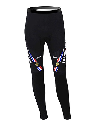 cheap Cycling Clothing-Malciklo Men's Cycling Tights - Black France Champion National Flag Bike Pants / Trousers Tights Thermal / Warm Fleece Lining Breathable Winter Sports Polyester Fleece France Mountain Bike MTB Road